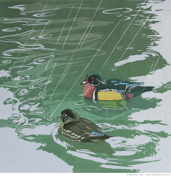 Shower with a friend, Sherrie York reduction linocut