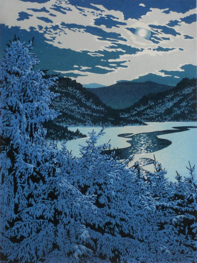 Moonlight Lead, William Hays reduction linocut