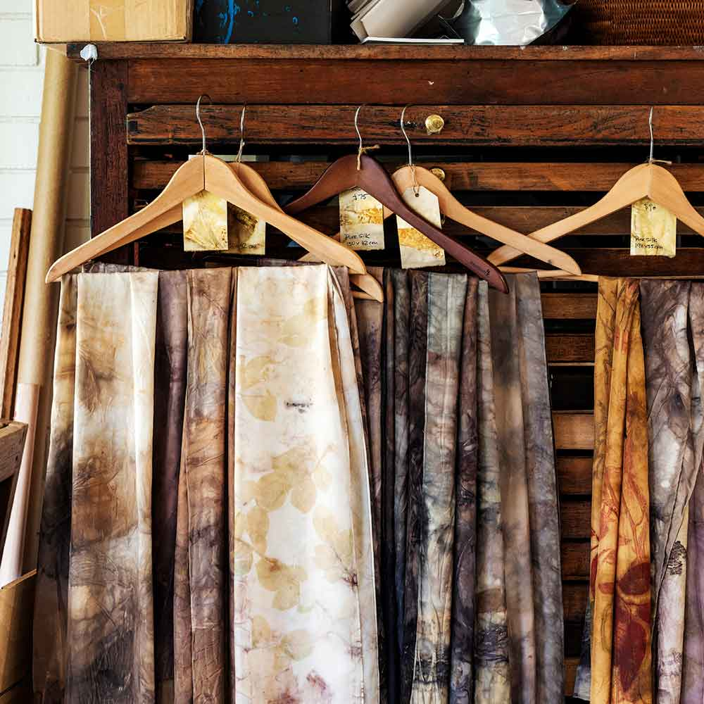 Eco-printed silk scarves, Kim herringe