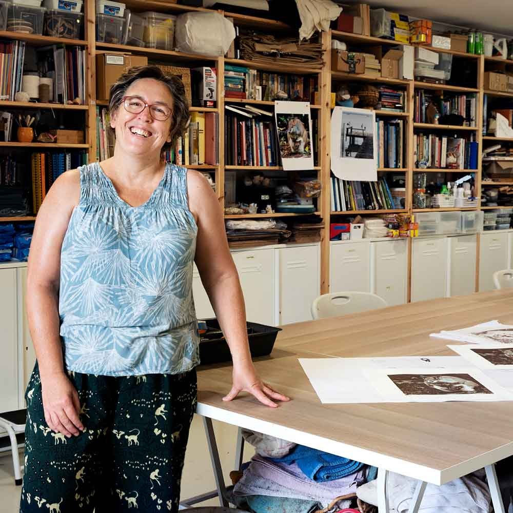 Kim Herringe in her studio