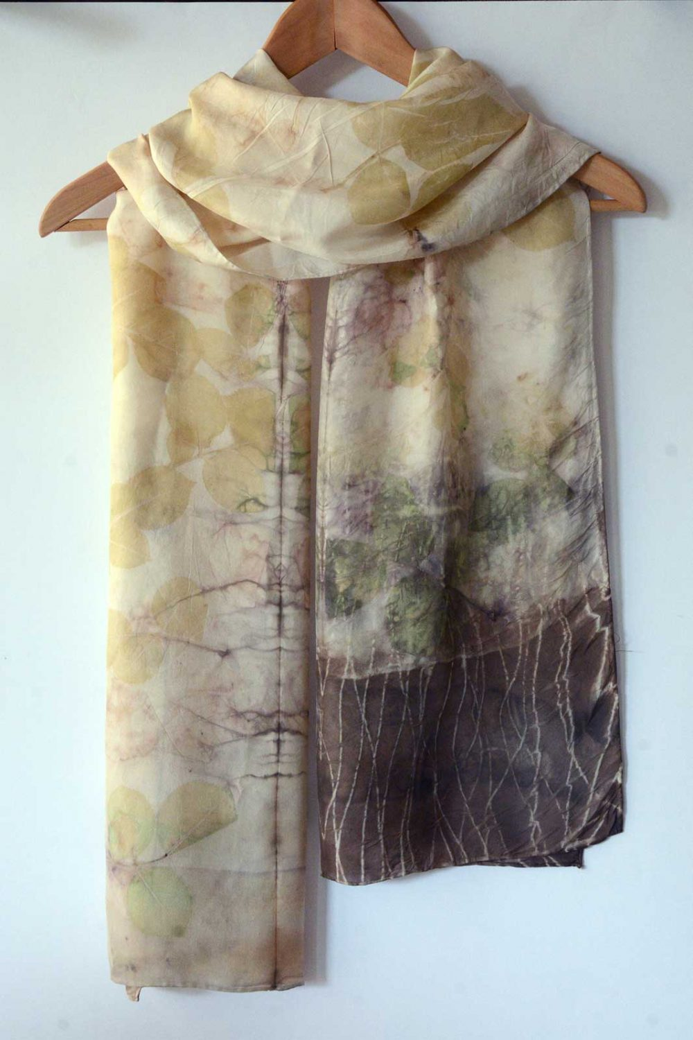 Botanical Eco Print Silk Scarf 160-01