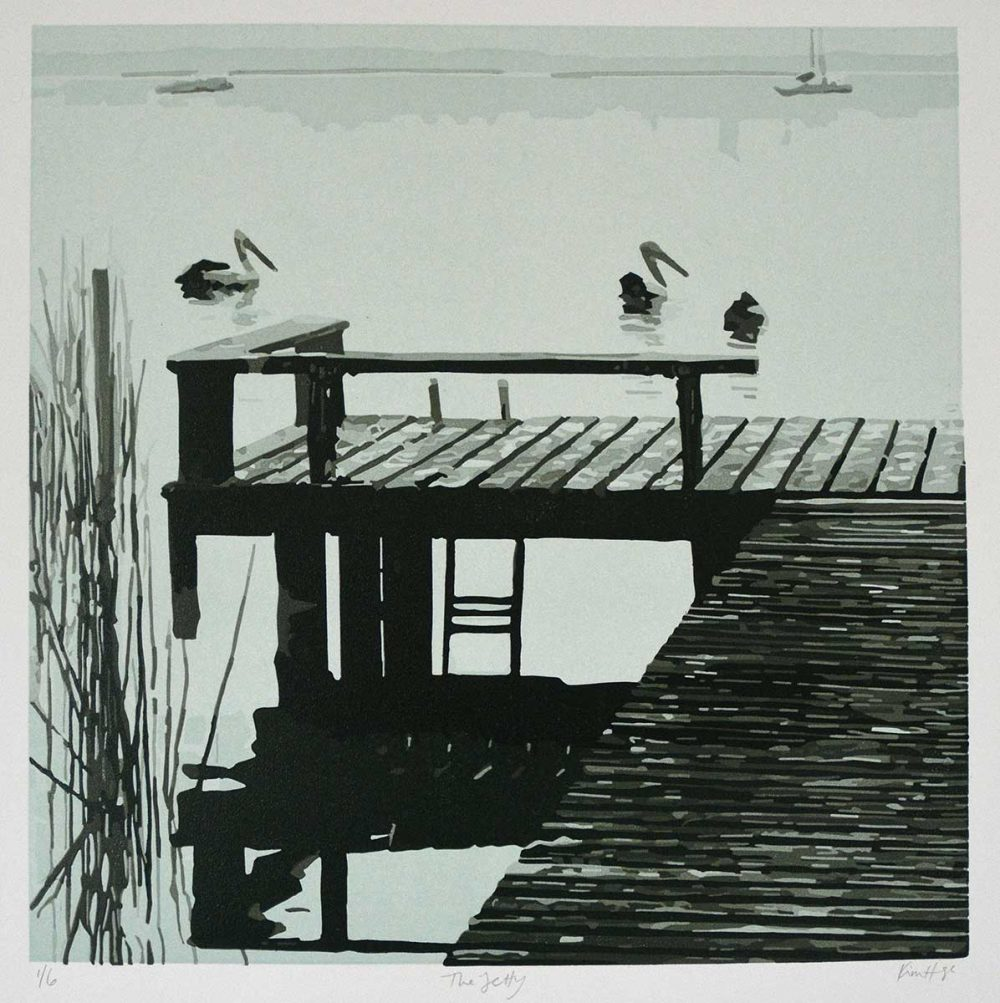 The Jetty - Reduction Linocut - Kim Herringe