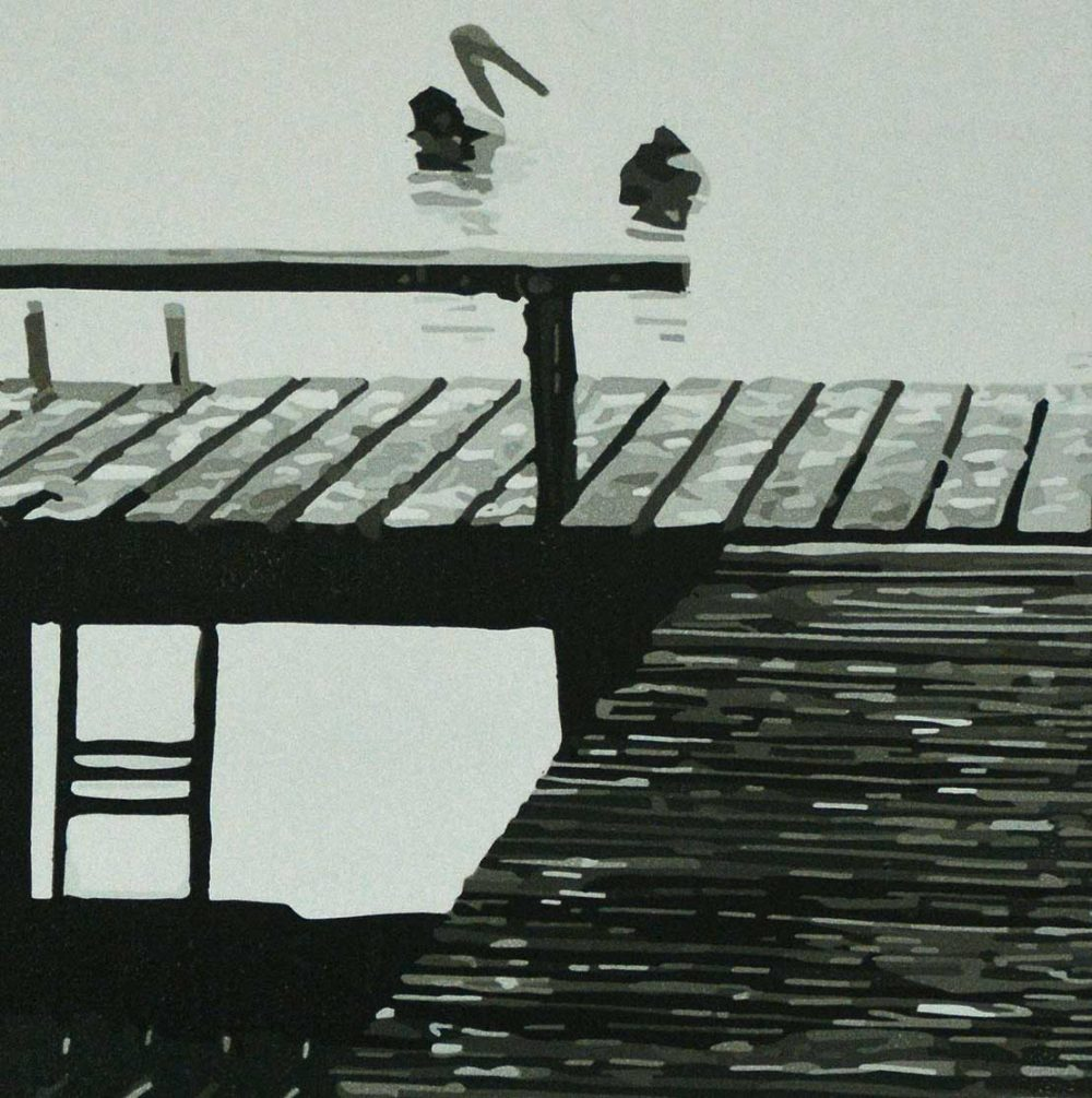 The Jetty (detail) - Reduction Linocut - Kim Herringe