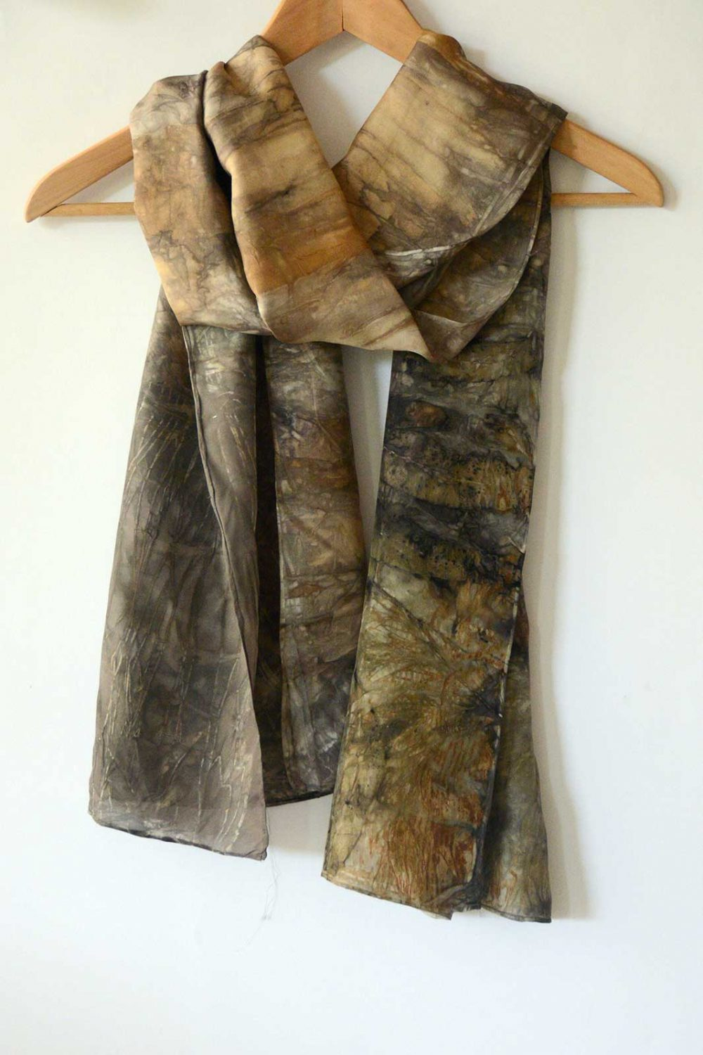 Botanical Eco Print Silk Scarf 160-02