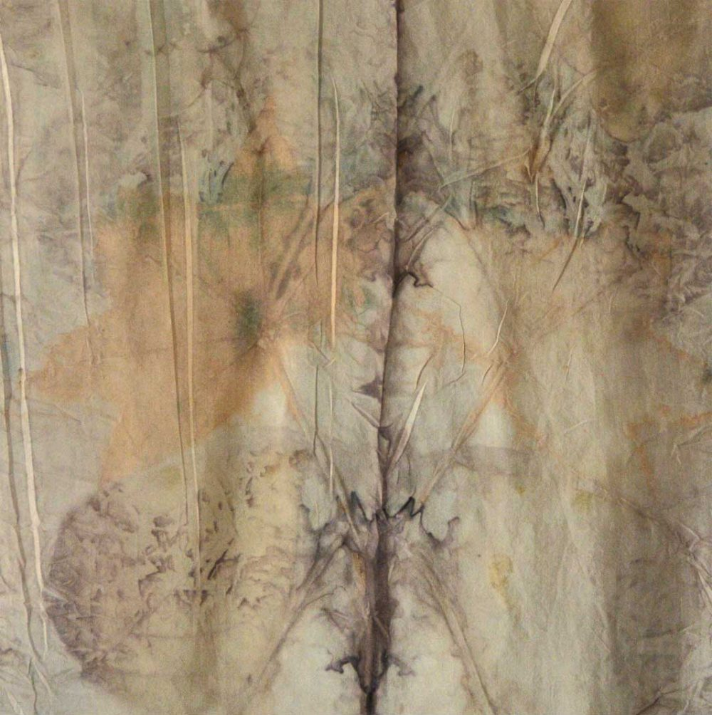 Botanical Eco Print Silk Scarf 160-03 - detail
