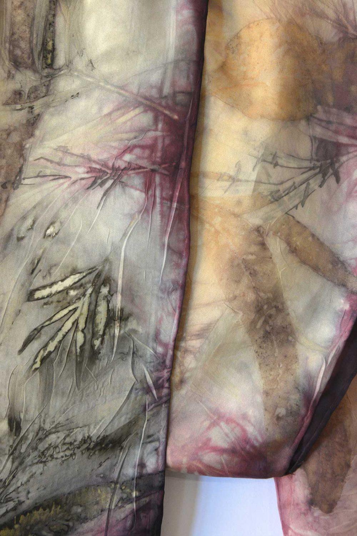 Botanical Eco Print Silk Scarf 160-04 - detail