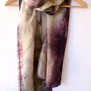 Botanical Eco Print Silk Scarf 160-04