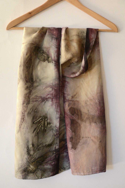 Botanical Eco Print Silk Scarf 160-04