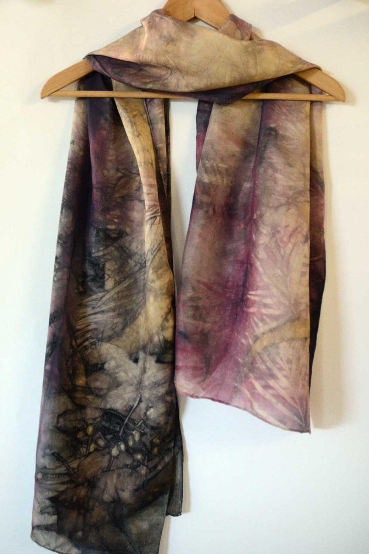 Botanical Eco Print Silk Scarf 160-05