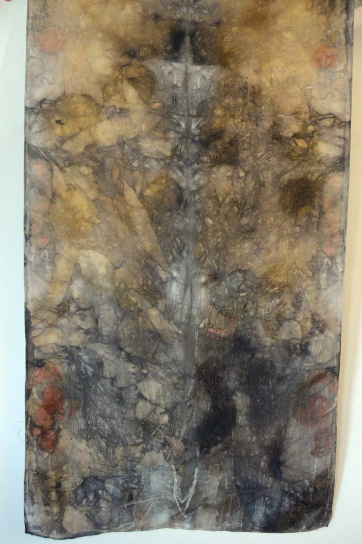 Botanical Eco Print Silk Scarf 160-06
