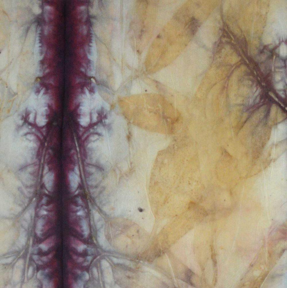 Botanical Eco Print Silk Scarf 160-07 - detail