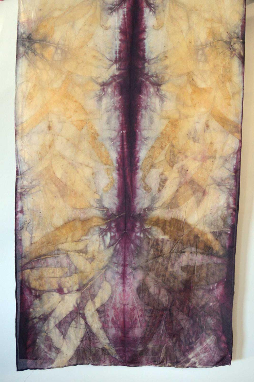 Botanical Eco Print Silk Scarf 160-07