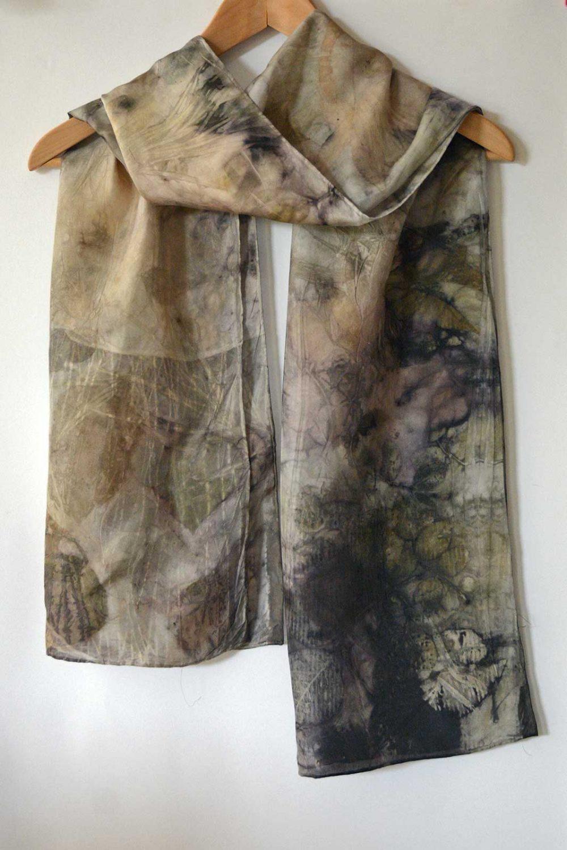 Botanical Eco Print Silk Scarf 160-09