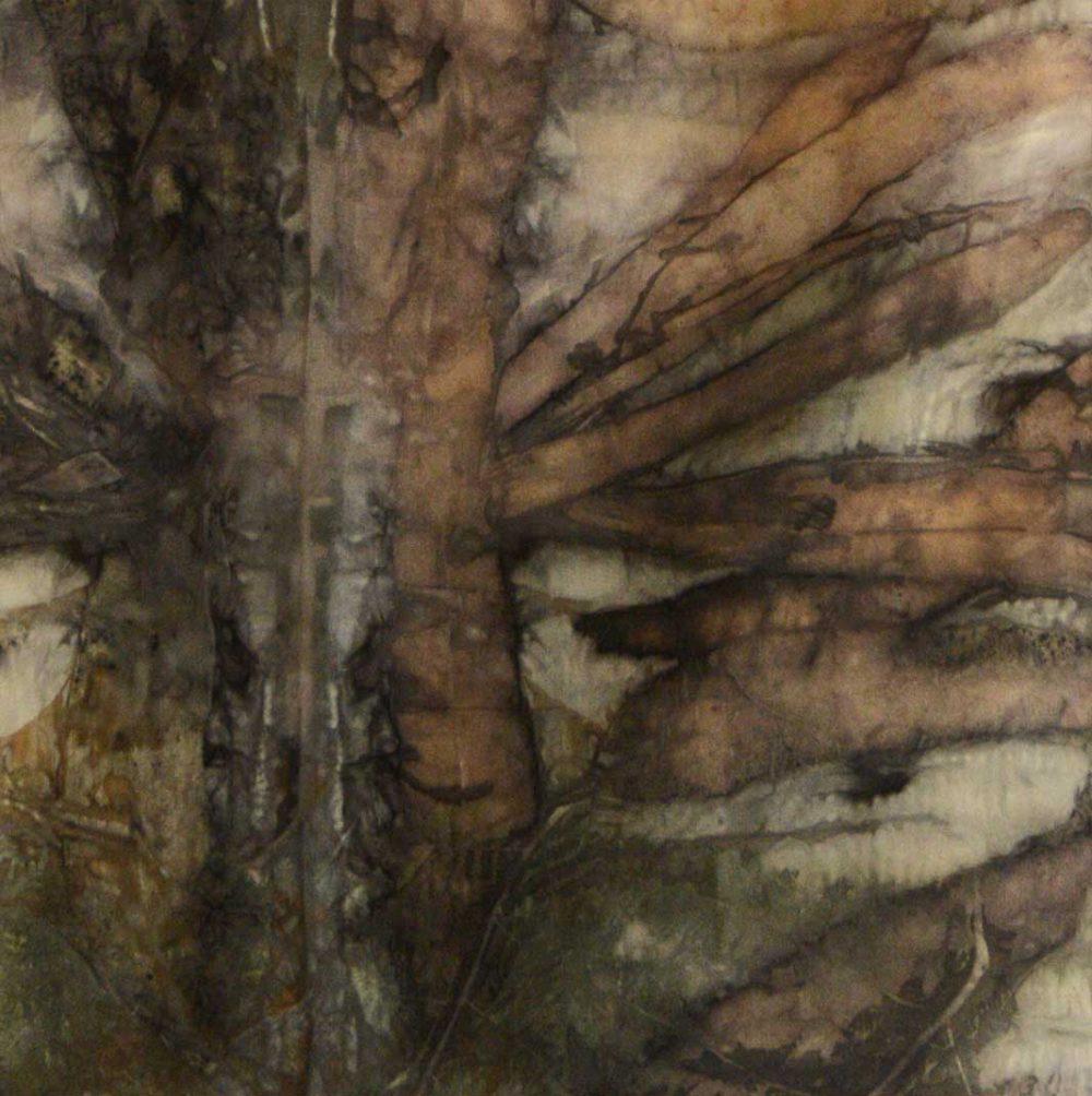 Botanical Eco Print Silk Scarf 160-11 - detail
