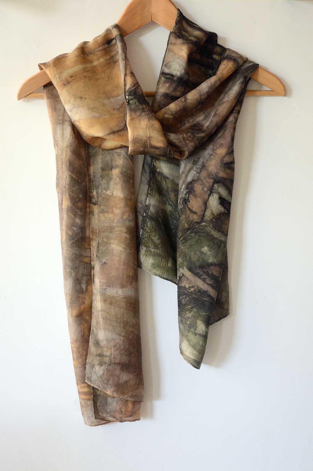 Eco-print 'Tiger Eye' Silk Scarf – 160x42cm