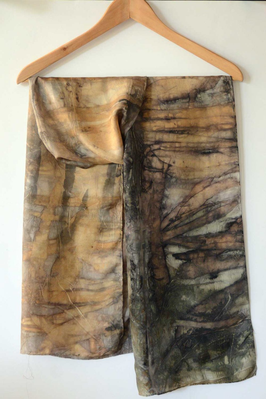 Botanical Eco Print Silk Scarf 160-11