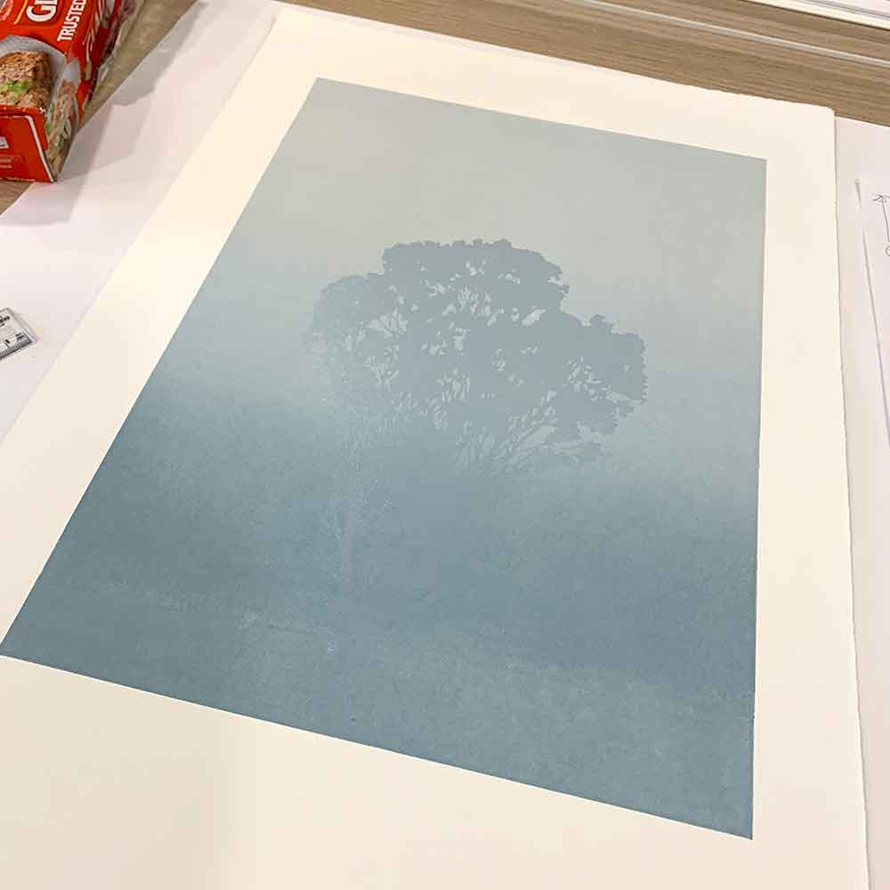 'Still' reduction linocut print, the first layer printed