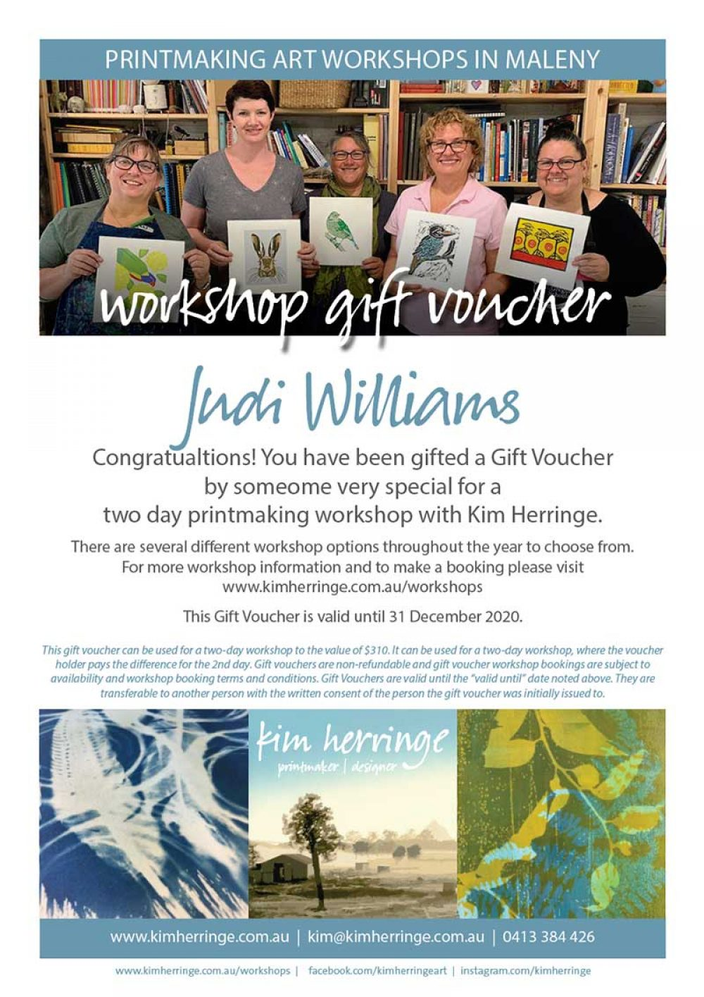two day workshop gift voucher