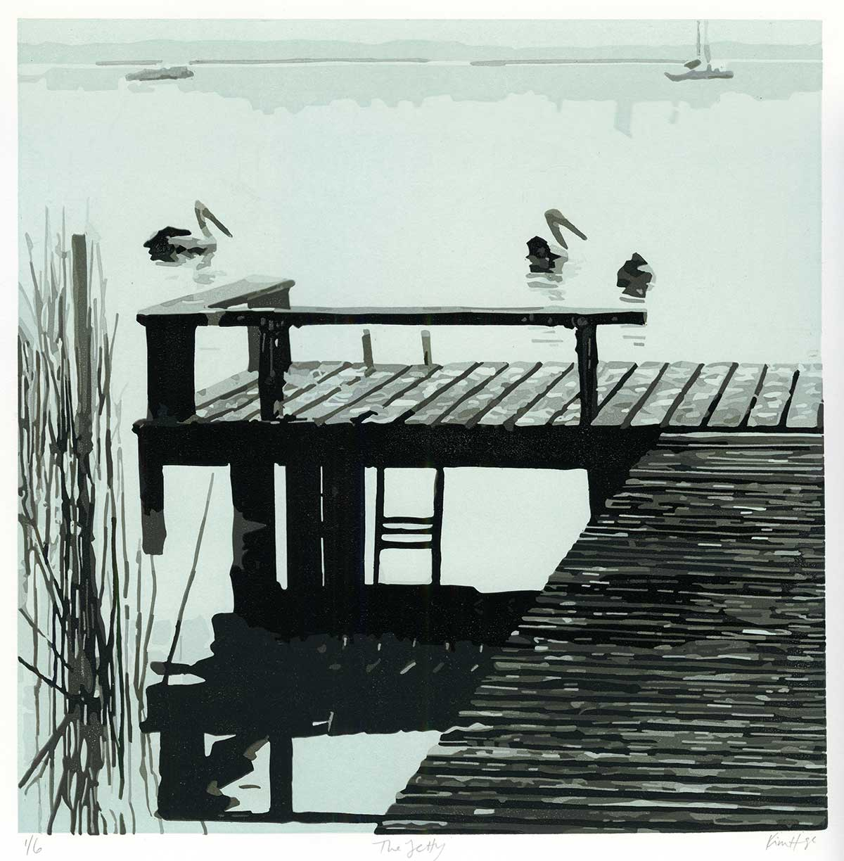 The Jetty - Reduction Linocut