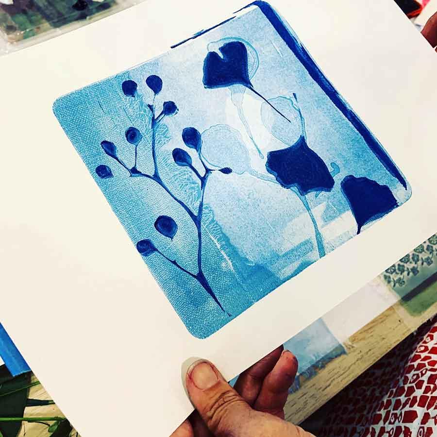 Gel plate printing workshop July 2020