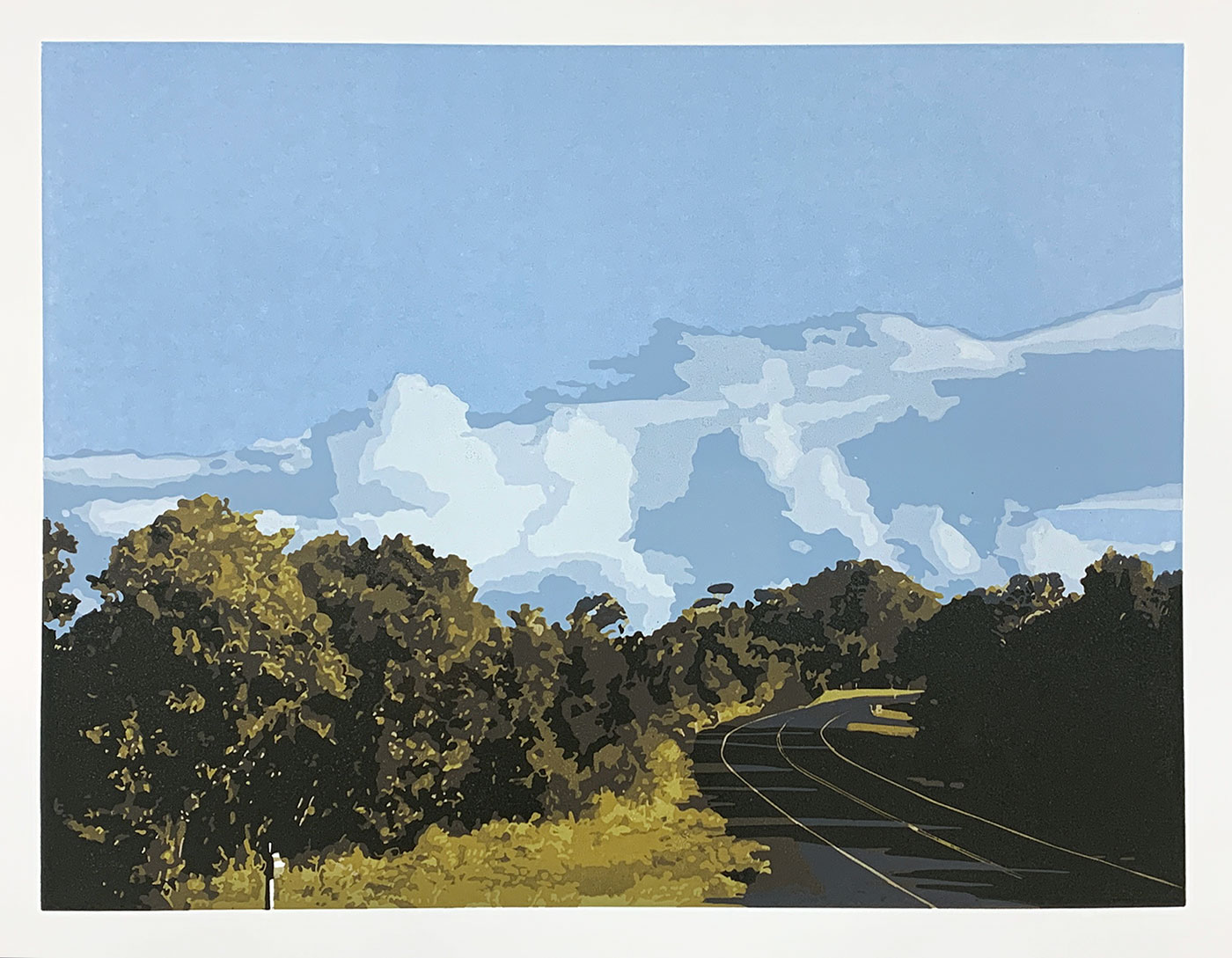The long way home - Reduction Linocut, Kim herringe