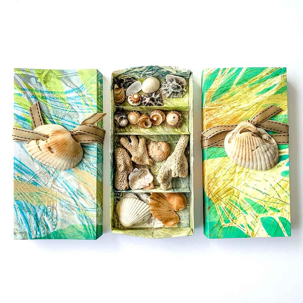 Gel plate printed Sea Treasure Boxes