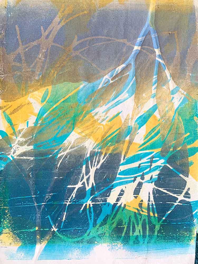 beachcombing inspired gelatin plate monoprint