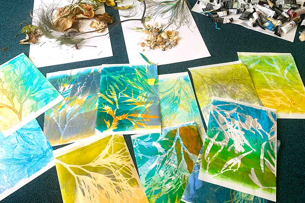 Surrender with beachcombing and gelatin plate monoprinting