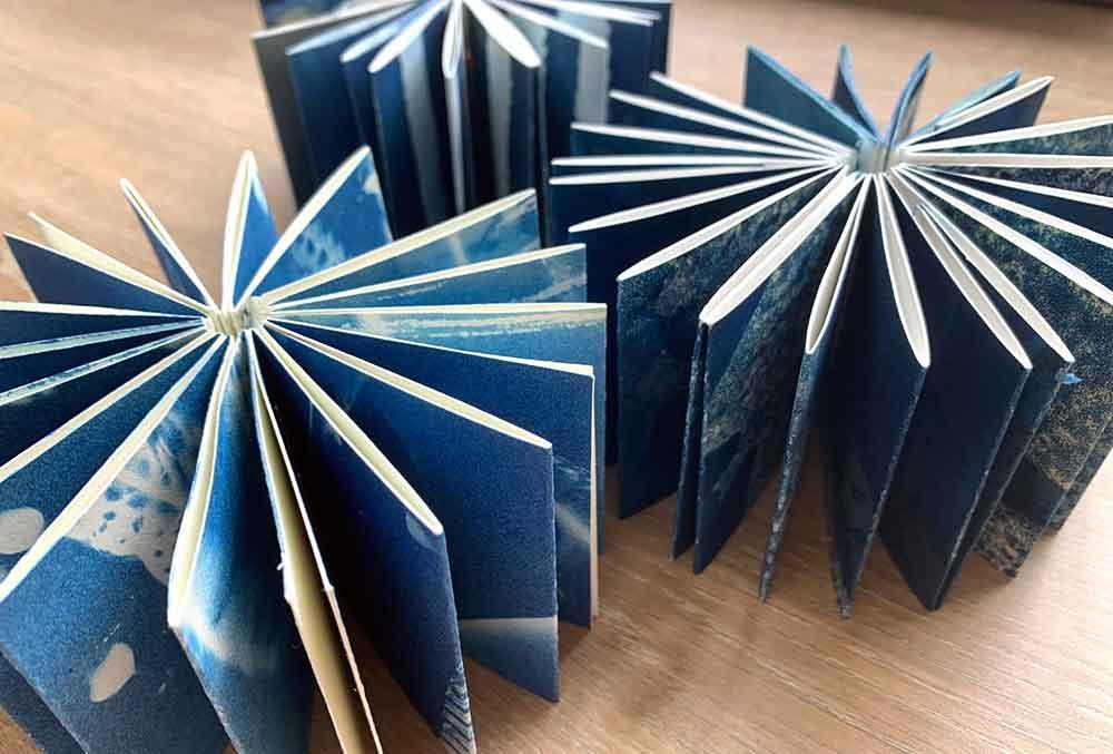 Mini accordian coptic bound cyanotype artist books