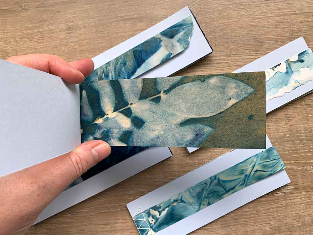 Cyanotype stab stitched book
