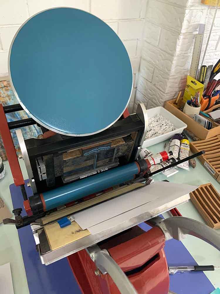 Letterpress printing with my Adana 8x5 printer