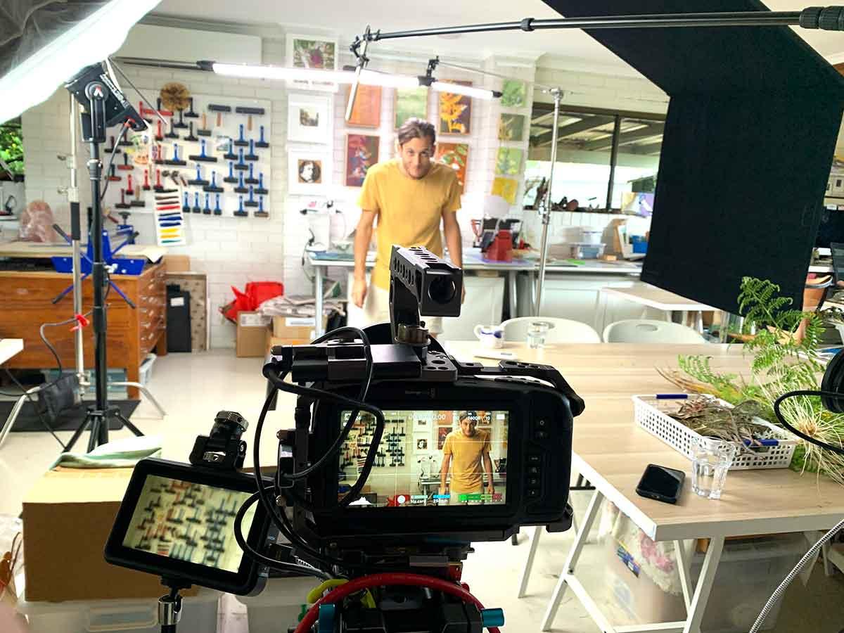 Studio filming behind the scenes