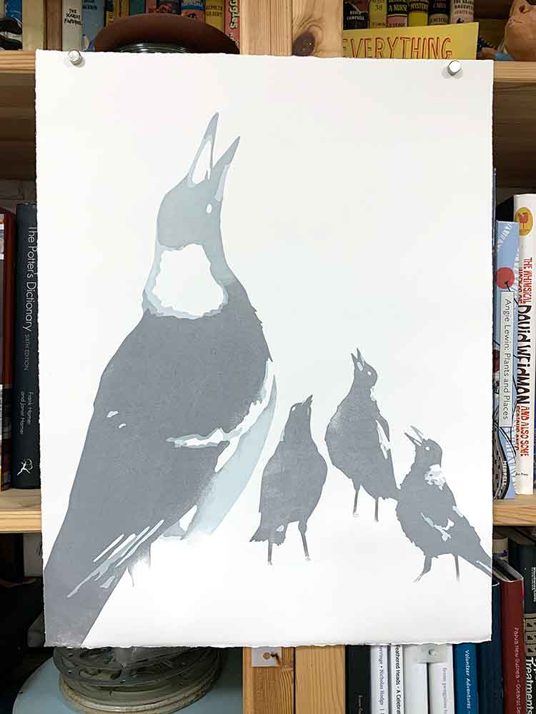 Magpie Stories - Family Choir - reduction linocut - layer 3