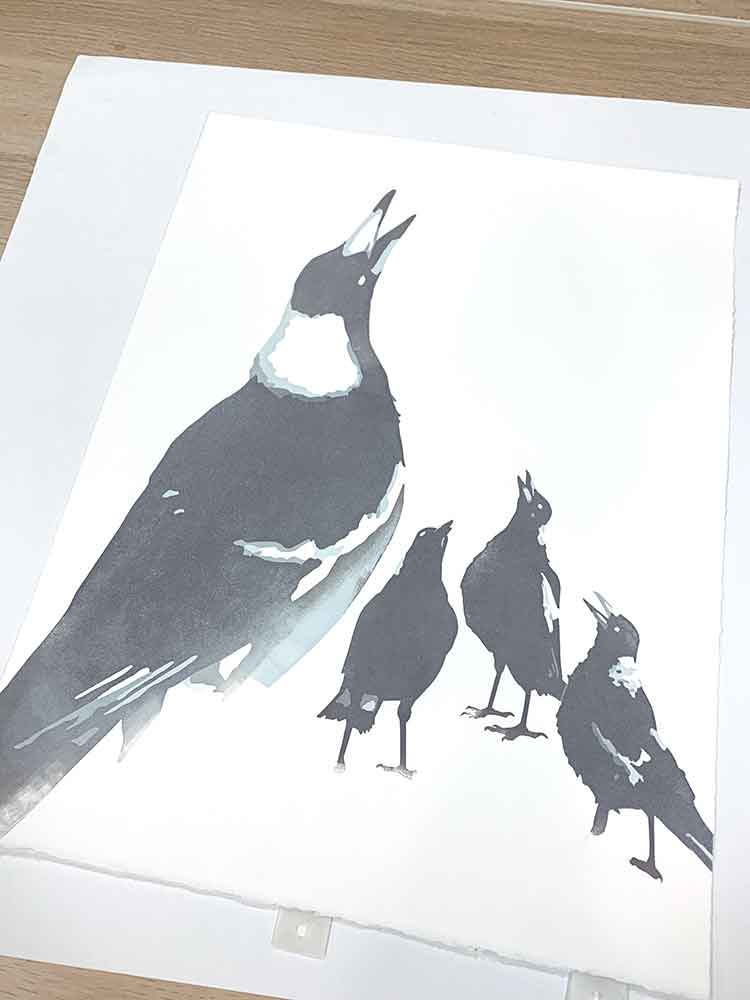 Magpie Stories - Family Choir - reduction linocut - layer 4