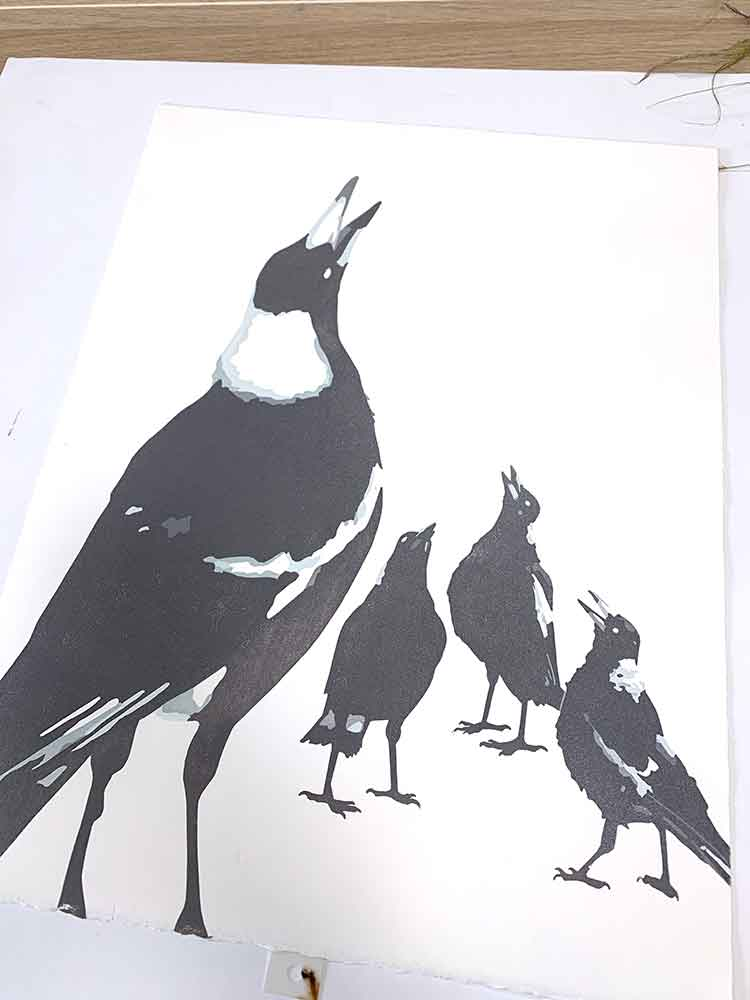 Magpie Stories - Family Choir - reduction linocut - layer 6