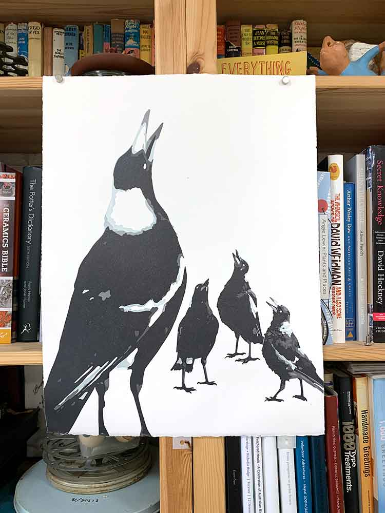 Magpie Stories - Family Choir - reduction linocut - layer 8