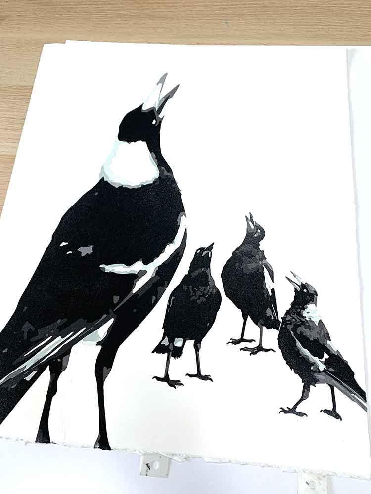 Magpie Stories - Family Choir - reduction linocut - layer 9