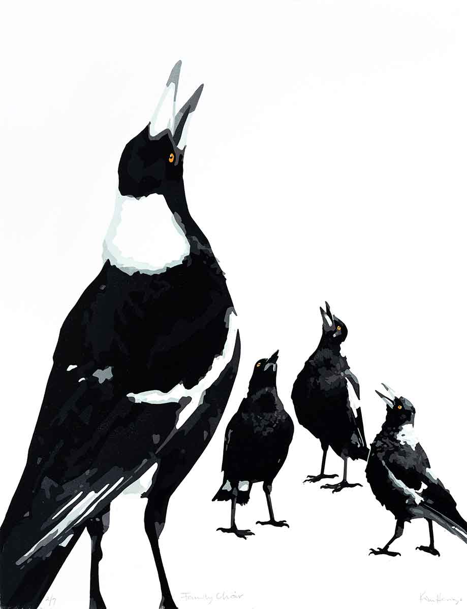 Magpie Stories 'Family Choir' reduction linocut