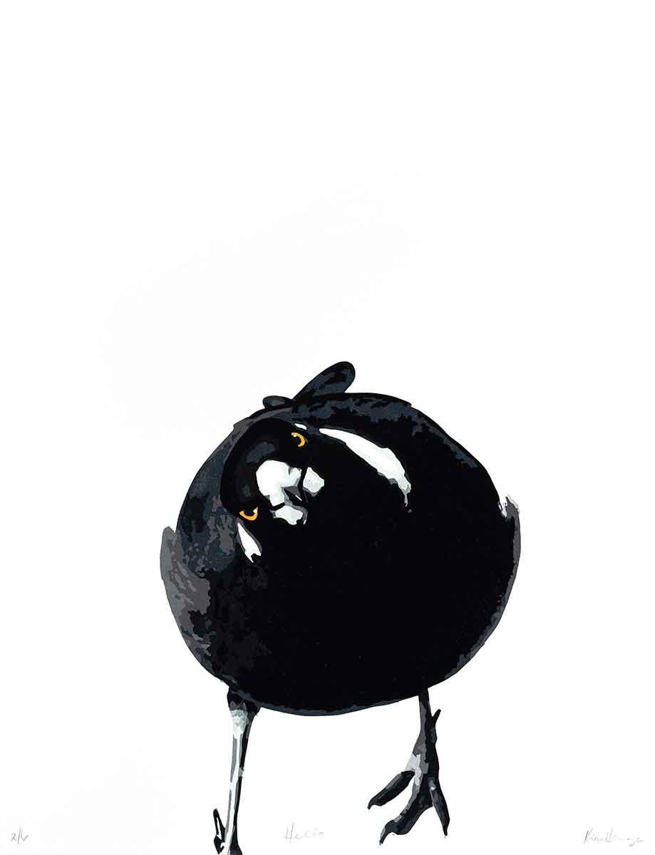 Magpie Stories 'Hello' reduction linocut