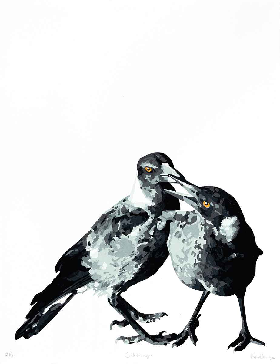 Magpie Stories 'Siblings' reduction linocut