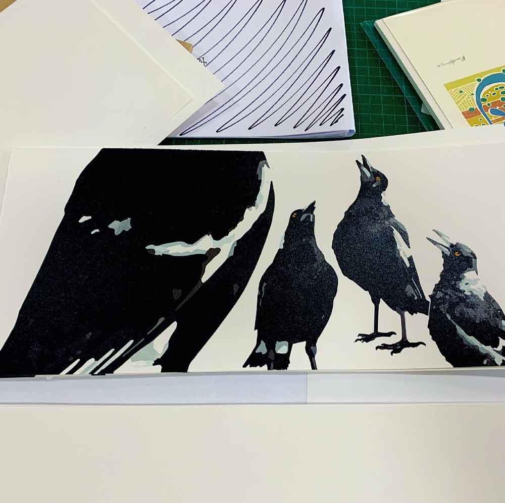 Magpie Stories - artist book planning