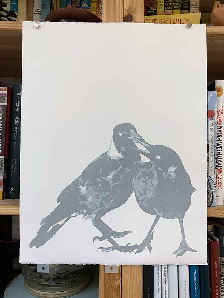 Magpie Stories - Siblings - reduction linocut - layer 3