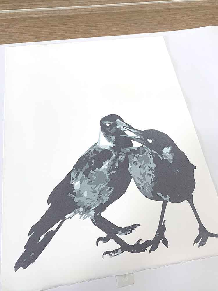 Magpie Stories - Siblings - reduction linocut - layer 4