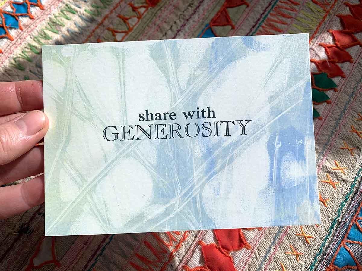 Share with generosity