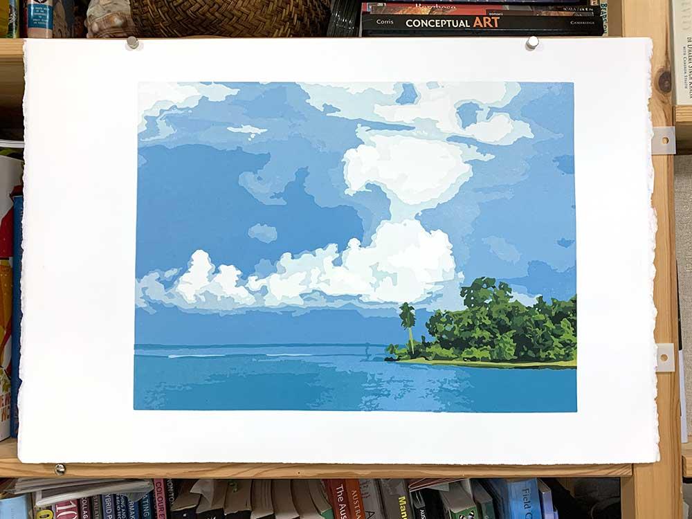 Kavieng - reduction linocut print