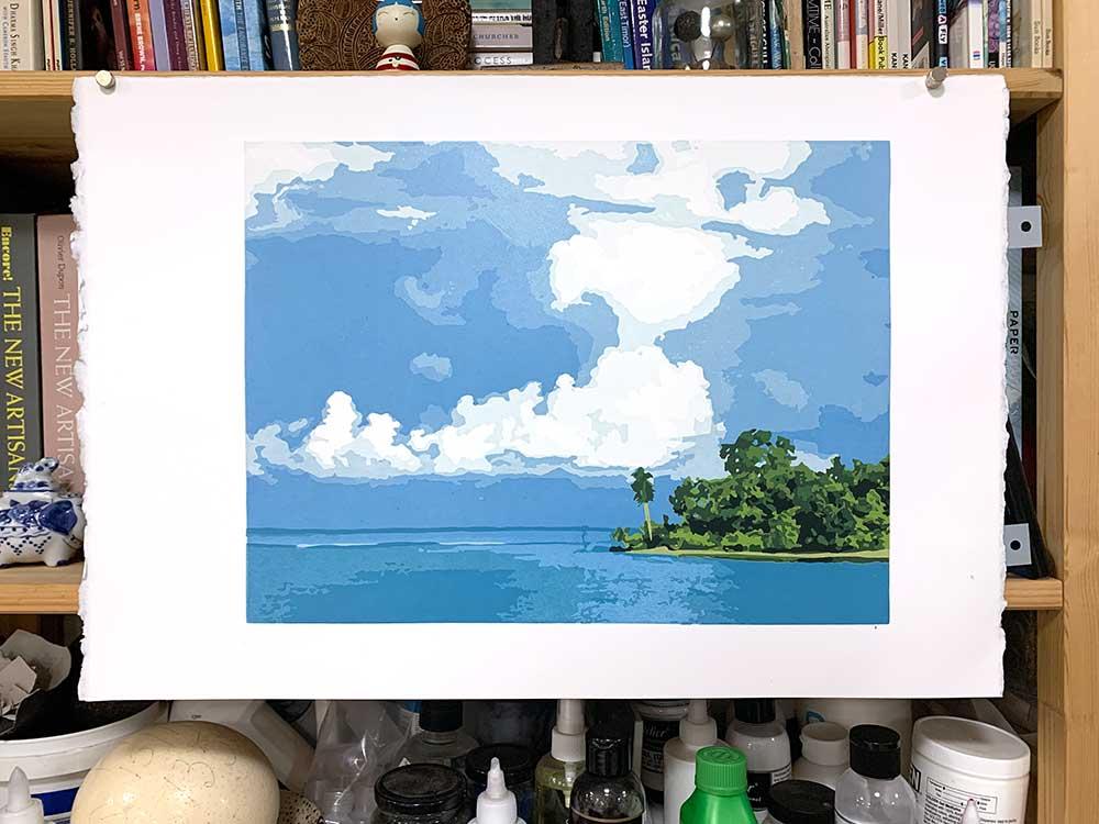 Reduction Linocut print