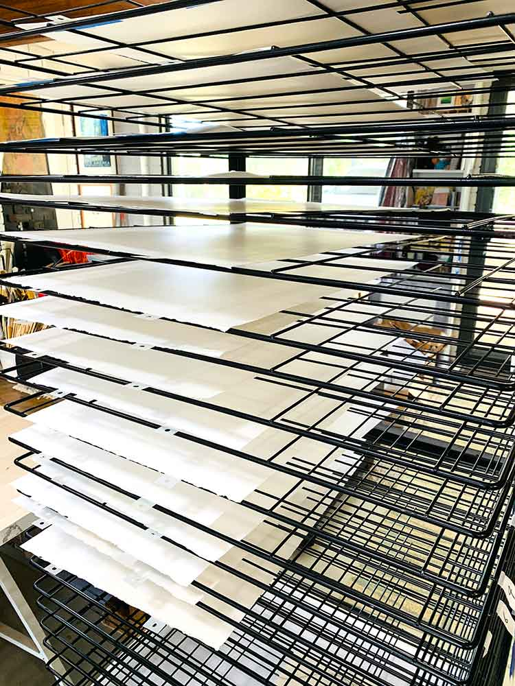 Kavieng - reduction linocut layer 1 on the drying rack