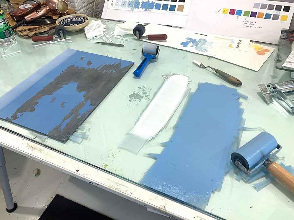 Kavieng - reduction linocut layer 6