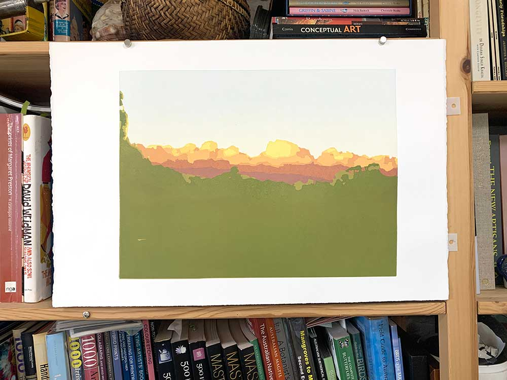 Nearly home - reduction linocut layer 10