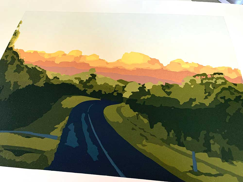 Nearly home - reduction linocut print